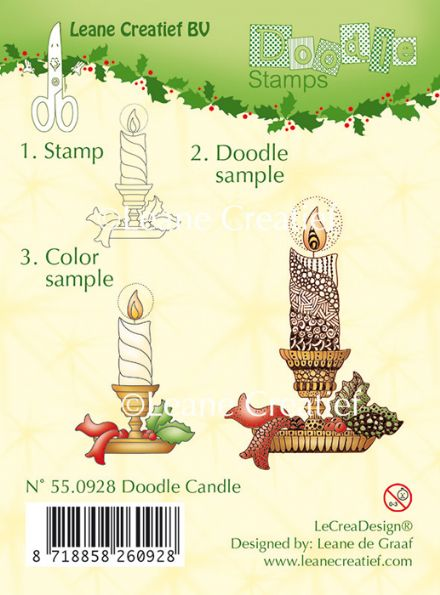 55.0928 ~ DOODLE CANDLE  ~ Leane Creatief Clear Stamp